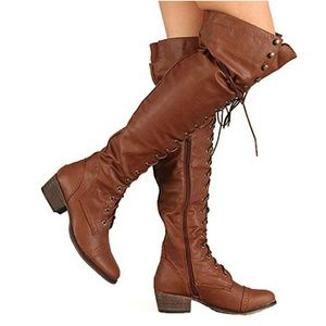 cc9fc82496f Breckelles Shoes - Alabama-12 Brown Knee High Riding Boots